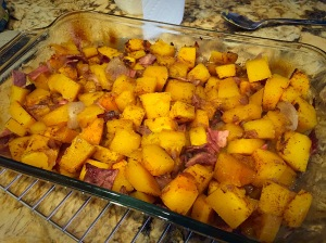 Butternut squash and bacon seasoned with all spice and fresh nutmeg